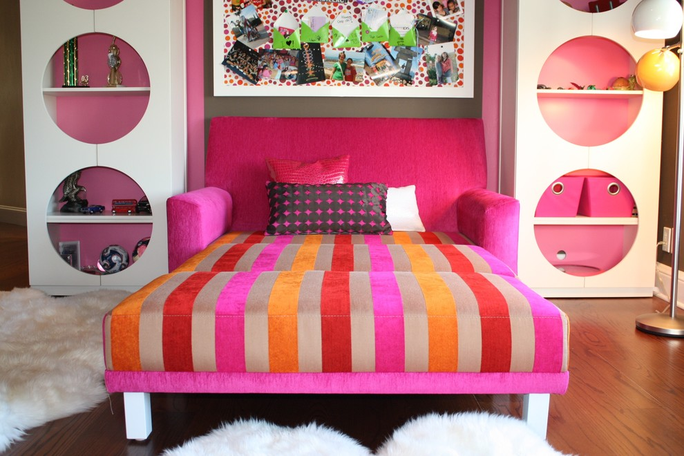 chair-bed-sleeper-Kids-Eclectic-with-area-rug-bold-colors-bookcase-bookshelves-bright-colors-bulletin-board-decorative-pillows