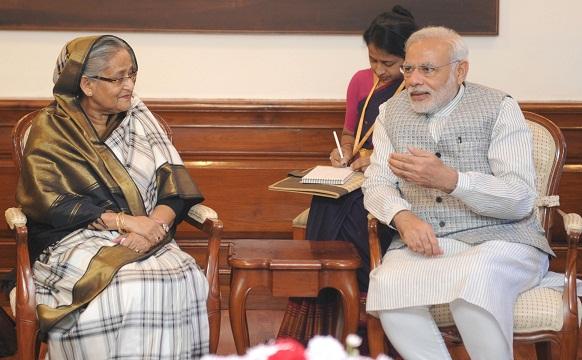 The Prime Minister of Bangladesh, Ms. Sheikh Hasina meeting the Prime Minister, Shri Narendra Modi, in New Delhi on August 19, 2015.