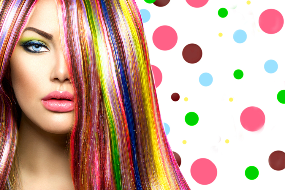 Colorful Hair and Makeup. Beauty Fashion Model Girl