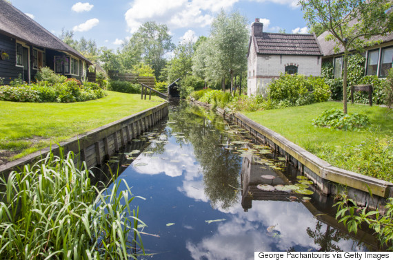 Canal and reflections in Giethoorn