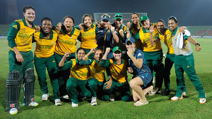 SYLHET, BANGLADESH - MARCH 31: Team South Africa poses for a team photo as they celebrate after winning the ICC Women's World Twenty20 match between New Zealand Women and South Africa Women played at Sylhet International Cricket Stadium on March 31, 2014 in Sylhet, Bangladesh.  (Photo by Pal Pillai-IDI/IDI via Getty Images)
