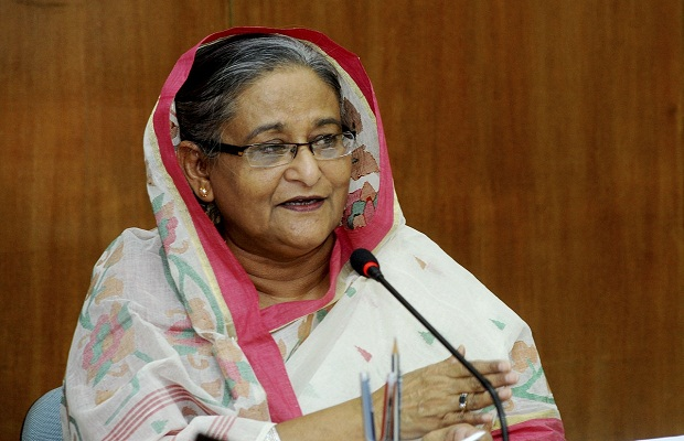 Dhaka (Bangladesh): Bangladesh Prime Minister Sheikh Hasina, addresses during a programme in Dhaka, Bangladesh on May 7, 2015. (Photo: bdnews24/IANS)