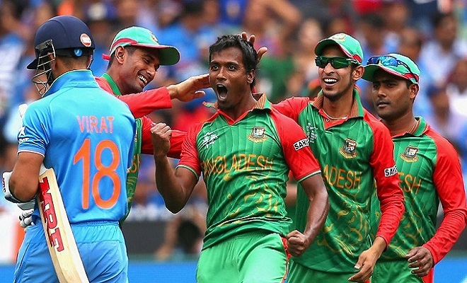 during the 2015 ICC Cricket World Cup match between India and Bangldesh at Melbourne Cricket Ground on March 19, 2015 in Melbourne, Australia.