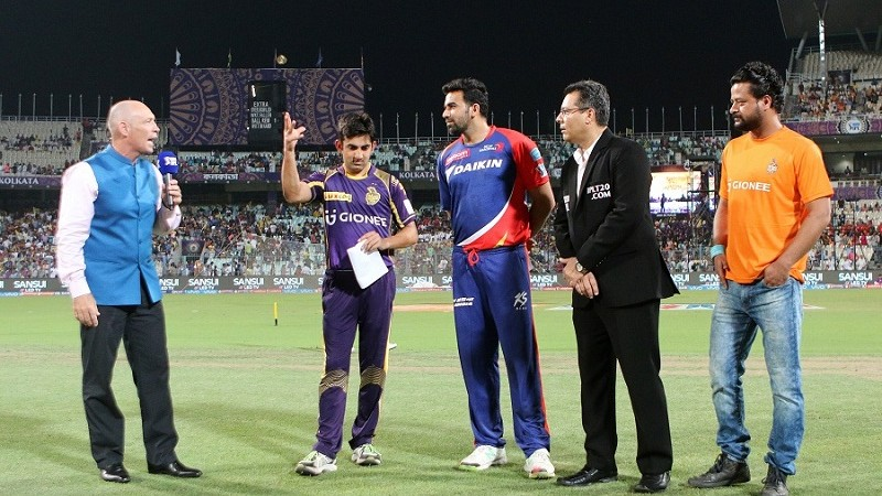 Guam Gambler and Zaheer Khan at the toss during match 2 of the Vivo Indian Premier League ( IPL ) 2016 between the Kolkata Knight Riders and the Delhi Daredevils held at the Eden Gardens Stadium in Kolkata on the 10th April 2016  Photo by Ron Gaunt/ IPL/ SPORTZPICS
