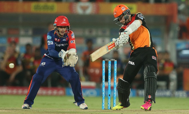 Kane Williamson of Sunrisers Hyderabad square cuts a delivery during match 42 of the Vivo IPL 2016 (Indian Premier League) between the Sunrisers Hyderabad and the Delhi Daredevils held at the Rajiv Gandhi Intl. Cricket Stadium, Hyderabad on the 12th May 2016  Photo by Shaun Roy / IPL/ SPORTZPICS