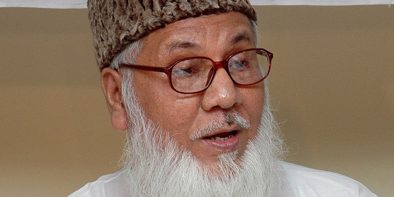 President of Jamaat-e-Islami Bangladesh and Industries Minister Maulana Motiur Rahman Nizami, addresses the media in Dhaka, Bangladesh, Saturday, Aug. 20, 2005. Nizami blamed the opposition Bangladesh Awami League and their associates for Wednesday's bombings, where more than 100 near-simultaneous small bombs went off across Bangladesh, leaving two people dead and 125 injured. (AP Photo/Pavel Rahman)