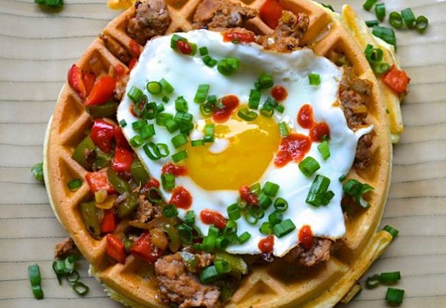 herb-waffles-sausagepeppers-fried-egg